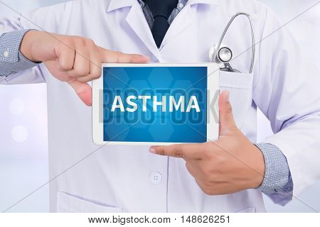 ASTHMA Doctor holding digital tablet Doctor work hard