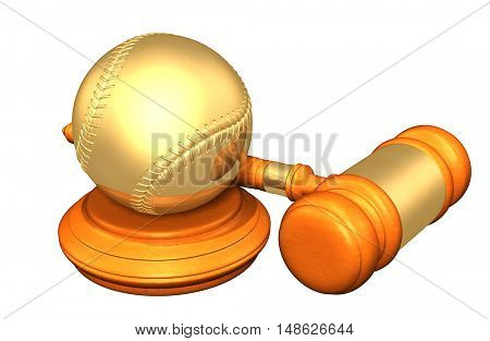 Baseball Legal Gavel Concept 3D Illustration