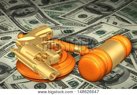 Pistol Legal Gavel Concept 3D Illustration