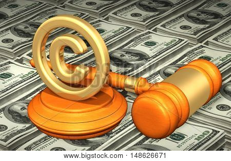 Copyright Legal Gavel Concept 3D Illustration