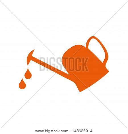 orange watering can with water drops falling. vector illustration