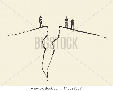 People standing on cracked ground. Concept vector illustration, sketch