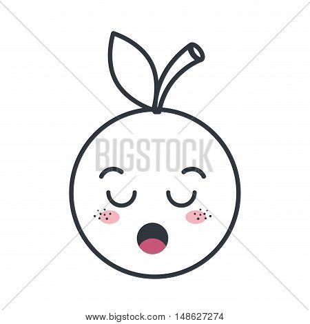 orange fruit food. kawaii cartoon with lazy expression face. vector illustration