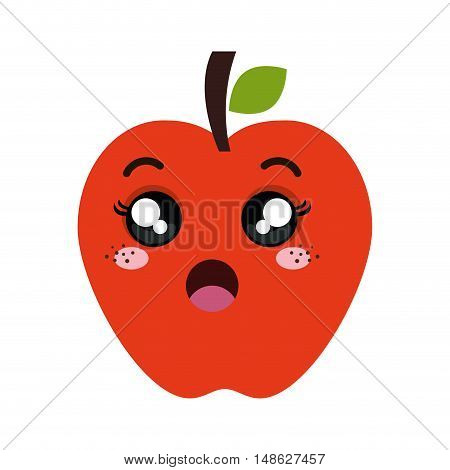 red apple fruit food. kawaii cartoon with surprised expression face. vector illustration
