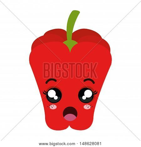 red pepper vegetable food. kawaii cartoon with surprised expression face. vector illustration
