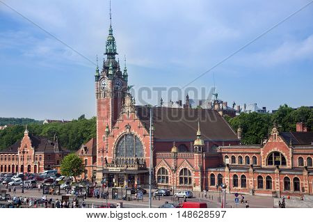 POLAND, GDANSK - MAY 30, 2016: The building's main train station in Gdansk in the old eclectic style.