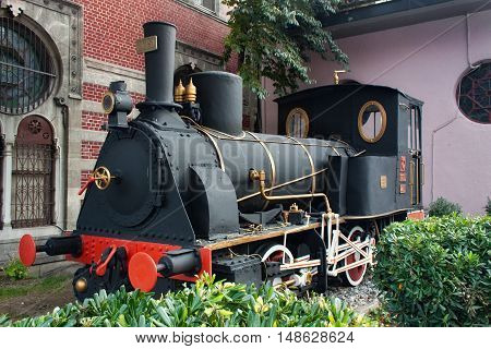 TURKEY ISTANBUL - NOVEMBER 06 2013: Old steam locomotive TCDD 2251 was built in 1874. Placed on the Istanbul Sirkeci railway station as a monument in honor of the famous Orient Express.