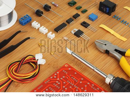 Electronic DIY KIT and hand tools for electronics assembly.