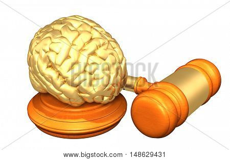 Brain Legal Gavel Concept 3D Illustration