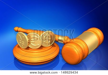 YES Coins Legal Gavel Concept 3D Illustration