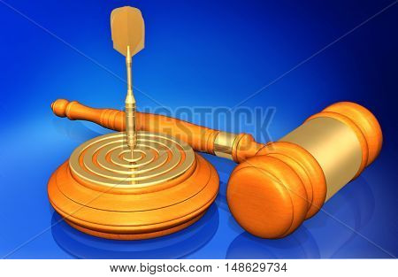 Dart On Bulls Eye Of Target Legal Gavel Concept 3D Illustration