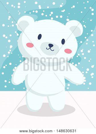 Little polar bear cartoon standing in snow day vector illustration