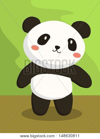 Cute little panda bear cartoon standing in green brown background vector illustration