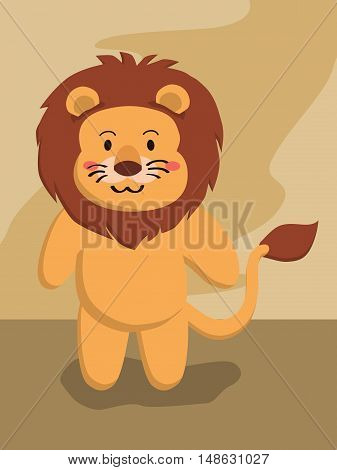 Cute cartoon Lion animal standing on brown background vector illustration