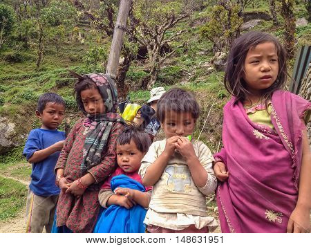 ANNAPURNA NEPAL - APRIL 14 2012 : Children at way to Annapurna base camp Nepal