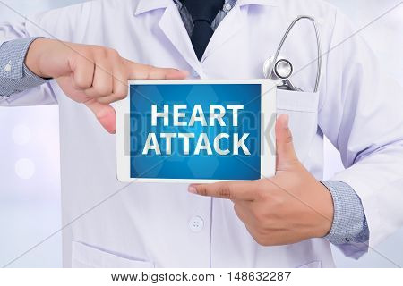 HEART ATTACK Doctor holding digital tablet Doctor work hard
