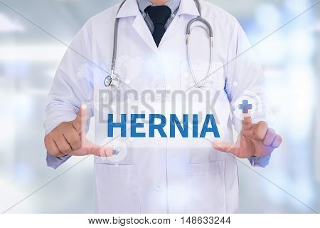 HERNIA Medicine doctor hand working Doctor work hard