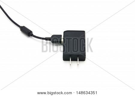 close up of charger on white background