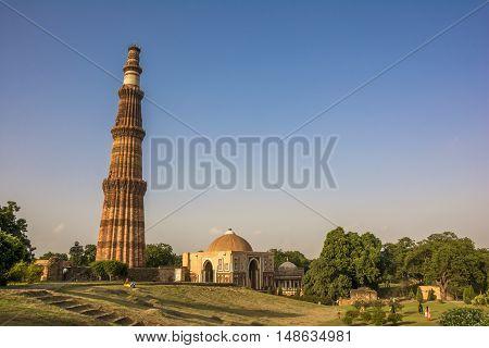 UNESCO World Heritage site, Qutb Minar, the tallest brick minaret in the world, New Delhi, India.
