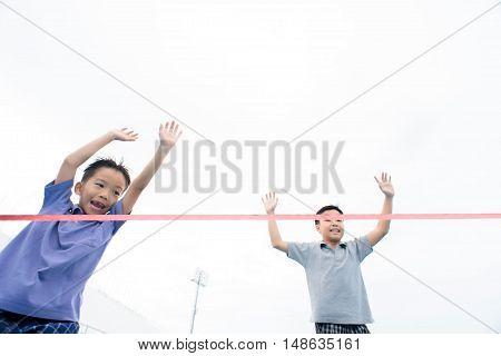 Young Asian Boy Running