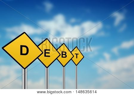 debt on yellow road sign with blurred sky background