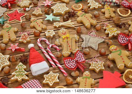 Christmas decorations on brown background close up