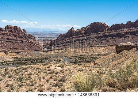 View of Spotted Wolf Canyon along interstate 70, Utah