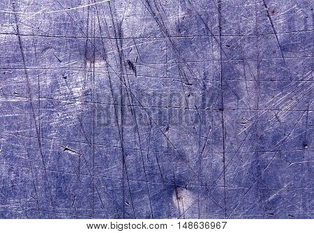 Blue Scratched Metal Surface.