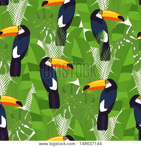 seamless tropical leaves - palm, monstera, tropical birds. Jungle texture.