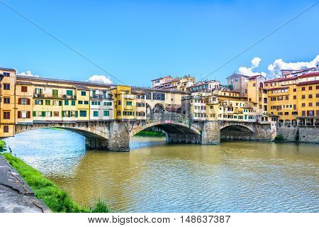 View at marble colorful architecture in Florence, Ponte Vecchio landmark, Italy, Europe.