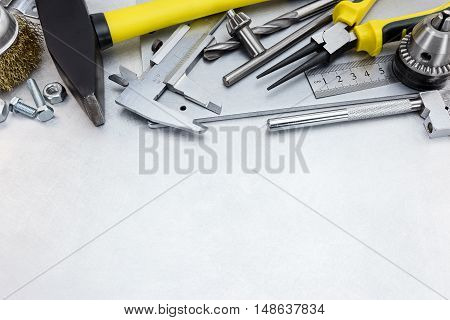 Various Tools And Instruments For House Repair And Hand Work On Metal Background