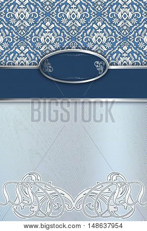 Blue and white vintage background with old-fashioned patterns and decorative border.