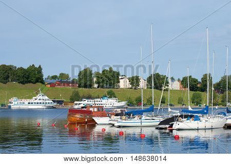 LAPPEENRANTA, FINLAND - AUGUST 21 2016: August morning in the port of Lappeenranta. Tourist landmark of the city Lappeenranta, Finland
