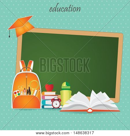 Education design background with school bag open book back to school creative conceptual Modern template Design Vector illustration.
