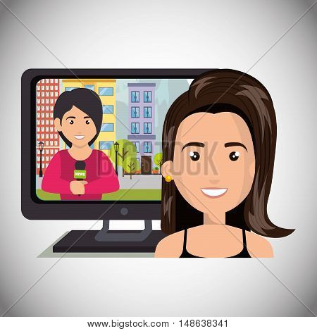 avatar woman smiling with television  with journalist live news. vector illustration