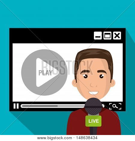 video media player and avatar journalist man with  news green microphone. vector illustration