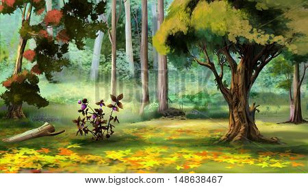 Beautiful view of idyllic landscape with Berry Bush in the Autumn Forest. Digital Painting Background Illustration.