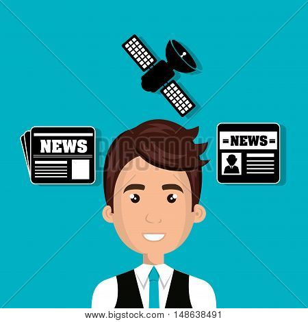 avatar man smiling wearing blue tie and news icons set. vector illustration