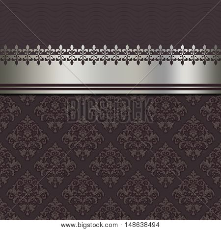 Vintage background with decorative silver borderelegant ornament and old-fashioned patterns.