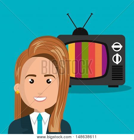 avatar woman wearing suit and blue tie and retro television. vector illustration
