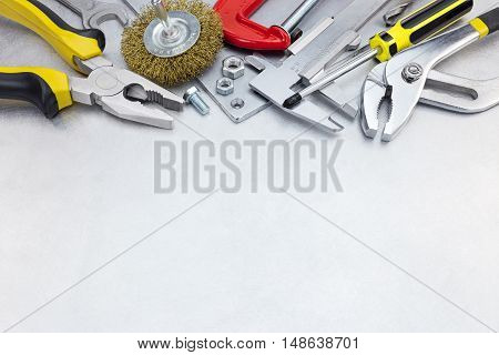 Set Of Various Tools For House Repair And Hand Work On Metal Background