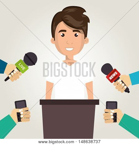 avatar man smiling wearing white tshirt and journalists hands with news microphones. vector illustration