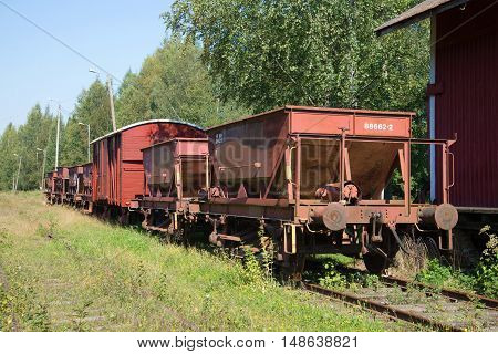 PORVOO, FINLAND - AUGUST 20, 2016: Old freight cars on abandoned railway station. Historical landmark