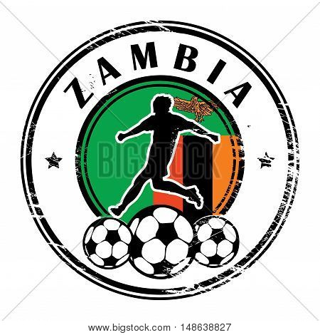 Grunge stamp with football and name Zambia, vector illustration