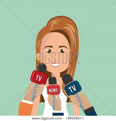 avatar woman smiling and hands journalist of news and tv microphones. vector illustration