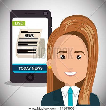 avatar woman smiling wearing suit and tie and smartphone with news screen. vector illustration