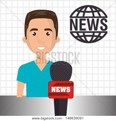 avatar man smiling with news red microphone cartoon. vector illustration
