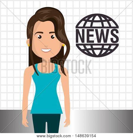 avatar woman smiling wearing blue shirt and green pants and news symbol. vector illustration
