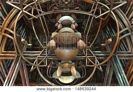 3D illustration of virtual metalic architectural detail