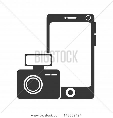 smartphone mobile phone and photographic camera device. vector illustration